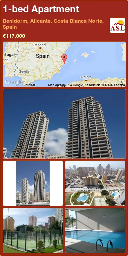 1-bed Apartment in Benidorm, Alicante, Costa Blanca Norte, Spain ►€117,000 #PropertyForSaleInSpain