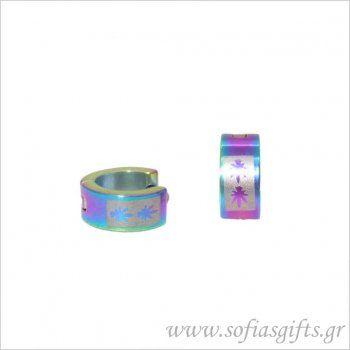 Ανδρικό σκουλαρίκι κρίκος ιριδίζον φύλλα #ανδρικά #σκουλαρικια #andrika #skoularikia #kosmhmata #κοσμηματα