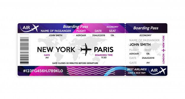 Modèle De Billet De Carte D'embarquement D'avion | Carte d'embarquement, Modèle de billet, Carte