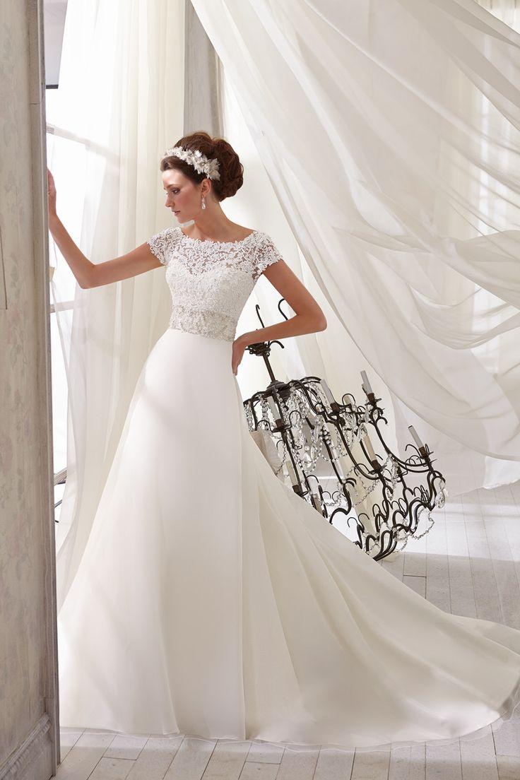 Formal Modern Modest Ivory White $$ - $701 to $1500 A-line Bateau Beading Empire Floor Illusion Lace Mori Lee Organza Sash/Belt Short Sleeve...