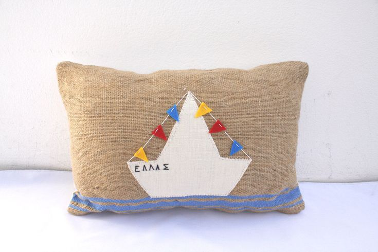 white boat handwoven pillow by ERGANIweaving on Etsy