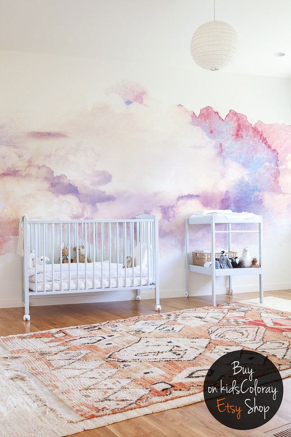 Watercolor abstract clouds wall mural || Soft and elegant wallpaper for nurseries, kids room || Muted colors || Pink and tender white #17
