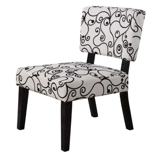 Linon Home Decor Taylor Accent Chair, White Black Circles