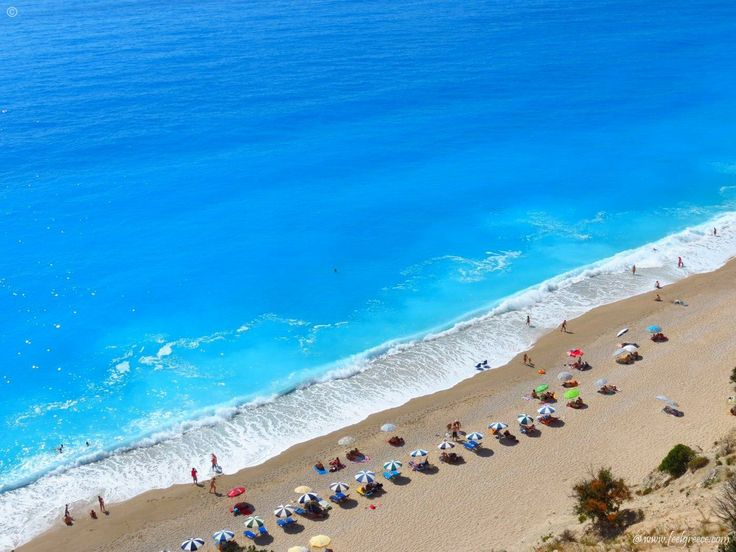 Sunbeds at Egremni, one of the most famous beaches of Lefkada