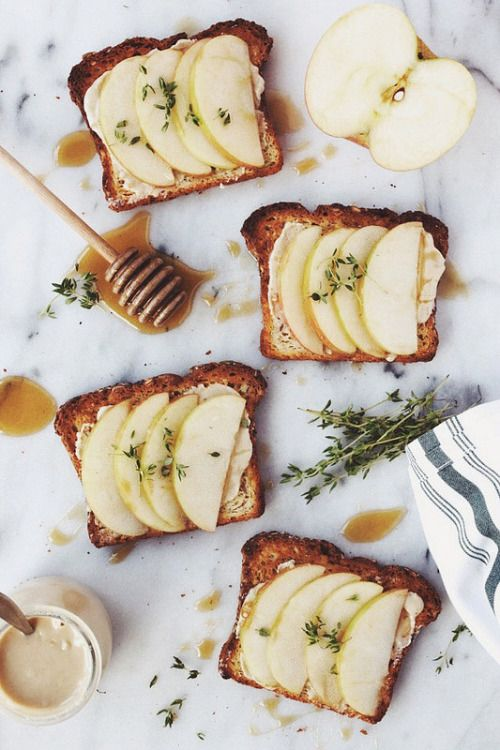 food52:  Listing off in my head the number of ways I could enjoy this… confectionerybliss:  Apple Tahini Toast with Honey and Thyme • Tasty Yummies