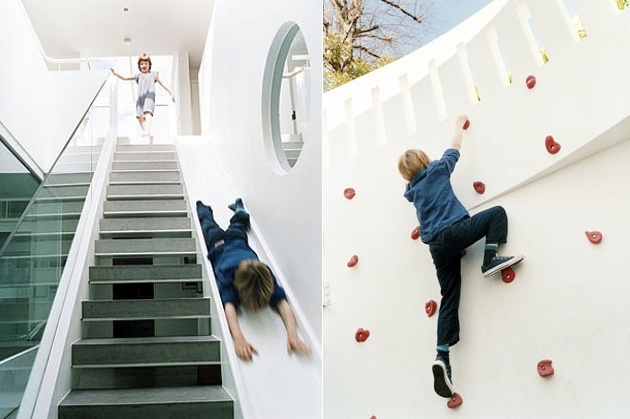 Climbing Wall Slide Better Than Stairs Game Room
