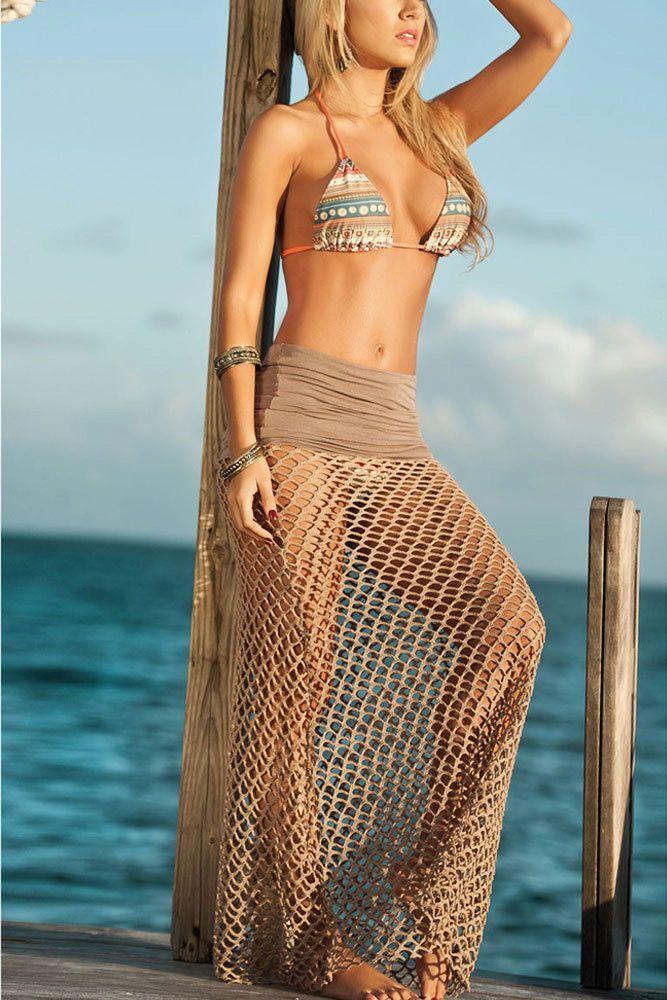 Пляжная юбка (48 фото): с запахом, вязаные крючком, из платка, длинные и короткие