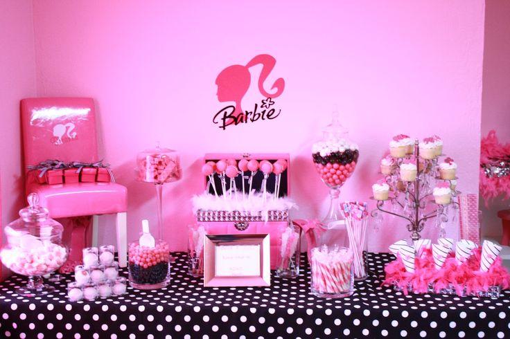 BarbieBarbie Inspiration, Kids Parties, Barbie Theme, Barbie Girls, Girls Birthday Parties, Barbie Birthday, Barbie Parties, Parties Ideas, Pink Black
