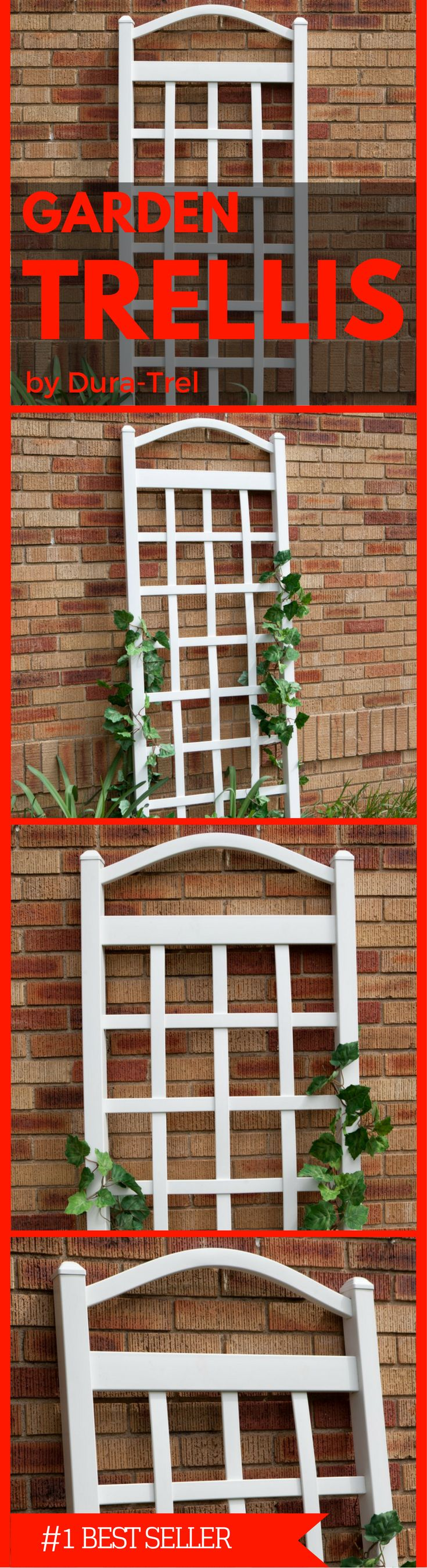 """Dura-Trel 11172 Cambridge Trellis 20 Year Warranty; 100-percent maintenance free; PVC vinyl will not crack, fade, peel or discolor Easy to Assemble; pre-cut and pre-drilled holes with all hardware included Easy to Install; install against a wall or freestanding included with 16-inch steel ground anchors 2 by 2-Inch posts, overall height 76"""", width 28"""" Made in the USA. Check it out at Amazon now. Landscaping, Lawn and Garden"""