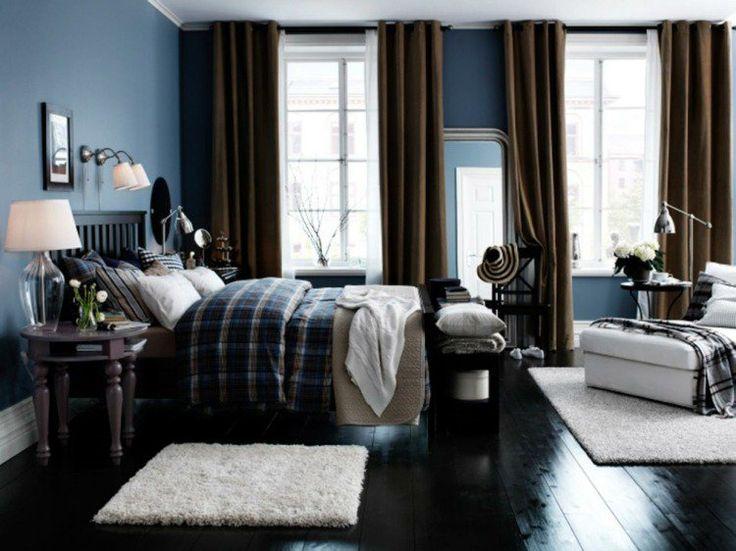 peinture bleu gris rideaux marron et meubles bois fonc dans la chambre adulte