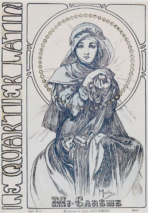 1901 Cover of 'Au Quartier Latin' lithography © Alphonse Mucha Estate-Artists Rights Society (ARS), New York-ADAGP, Paris