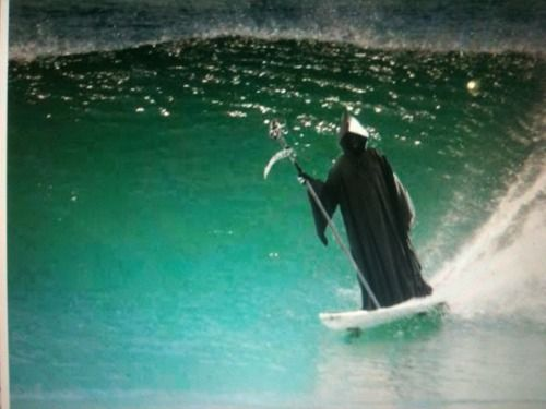 Death catching a wave