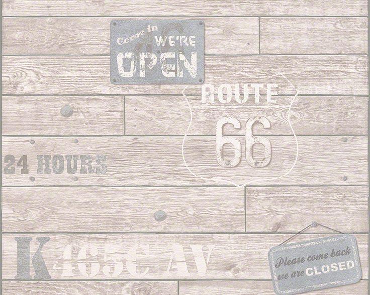 Route 66 von A.S. Création Tapete 943021 #ascreation #tapeten #wohnen #skandinavisch #schlicht #stil #route66 #wood #holz