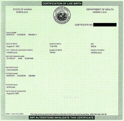 official Obama birth certificate