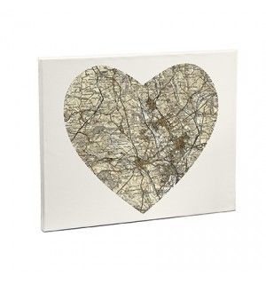 1896 - 1904 Revised New Heart Medium Map Canvas | Canvases | Exclusively Personal