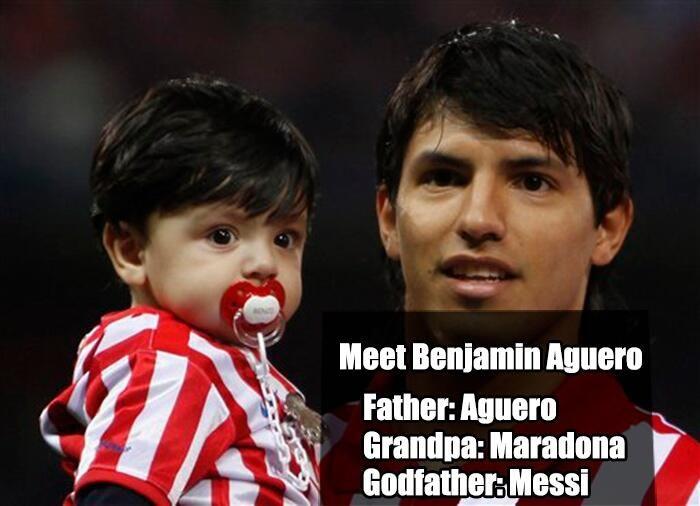 İşte bu cocuk buyuyunce korkun.. Dedesi Maradona, babası Kun Aguero, vaftizbabası Messi..