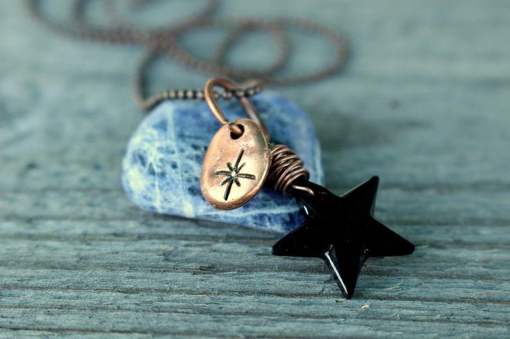 Pole star swarovski chocker, black star, copper chocker, crystal necklace, oxided copper, antiqued copper, star necklace, triskell design di TriskellDesign su Etsy