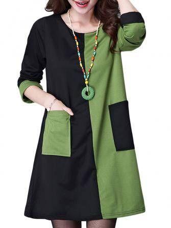 As mulheres elegantes trabalho feito de retalhos de bloco de cor de bolso de manga longo diretamente vestem-se