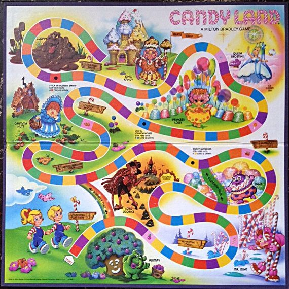 Candyland Board Game Board Only Collectible by Rubyapplevintage, $10.00