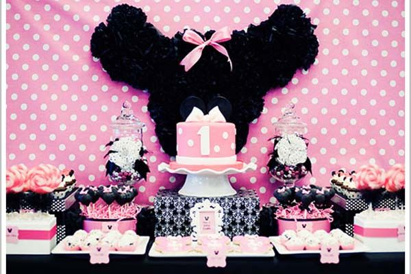 Minnie Mouse 1st Birthday  It's a no brainer that your little girl loves Minnie Mouse. She may be too young to express it but this iconic character from Disney is every young girl's favorite cartoon. Having inspired so many events before yours, choose this classic 1st birthday party that used various hues of pink to combine with black and white colors.