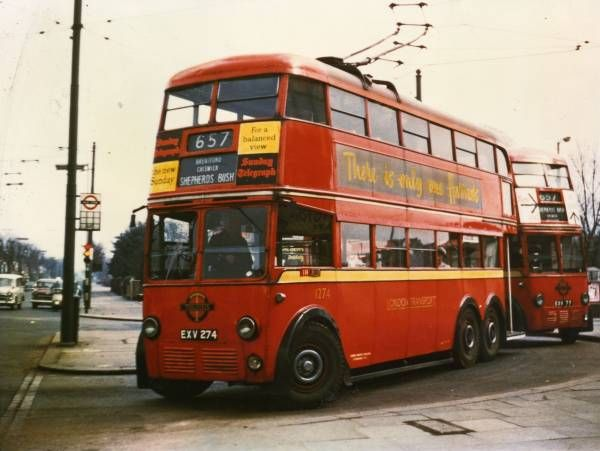 London trolleybus route 657 to Shepherds Bush just prior to being withdrawn 8th…