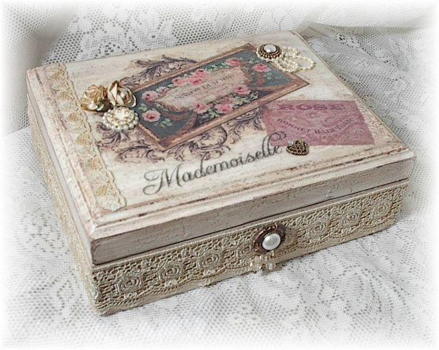 Image detail for -Shabby Vintage French Chic Altered Art Keepsake Box