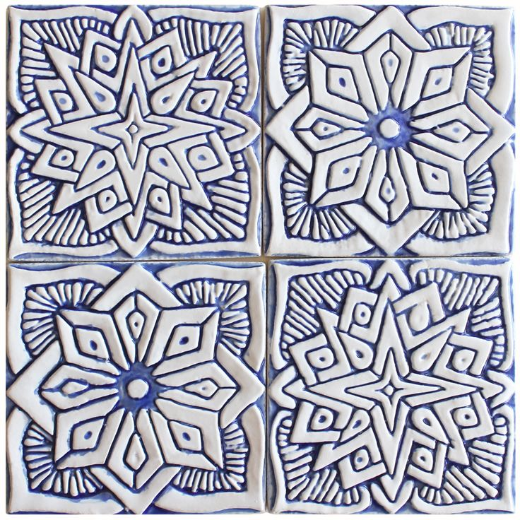 Small blue and white Moroccan ceramic tile #2 by G.Vega Ceramica