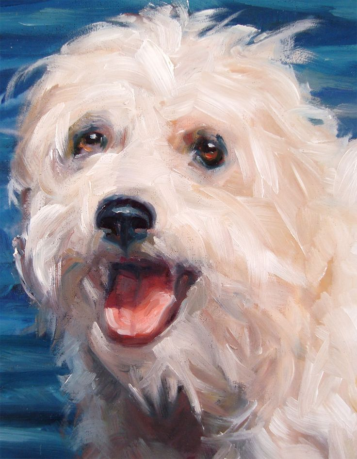 FreeSpirited Terrier LIVVI cools off, custom Pet Portrait Oil Painting by puci (detail of larger painting)