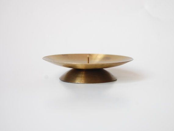 Vintage Gold Candle Dish Minimalist Decor Simple by zaikadesign