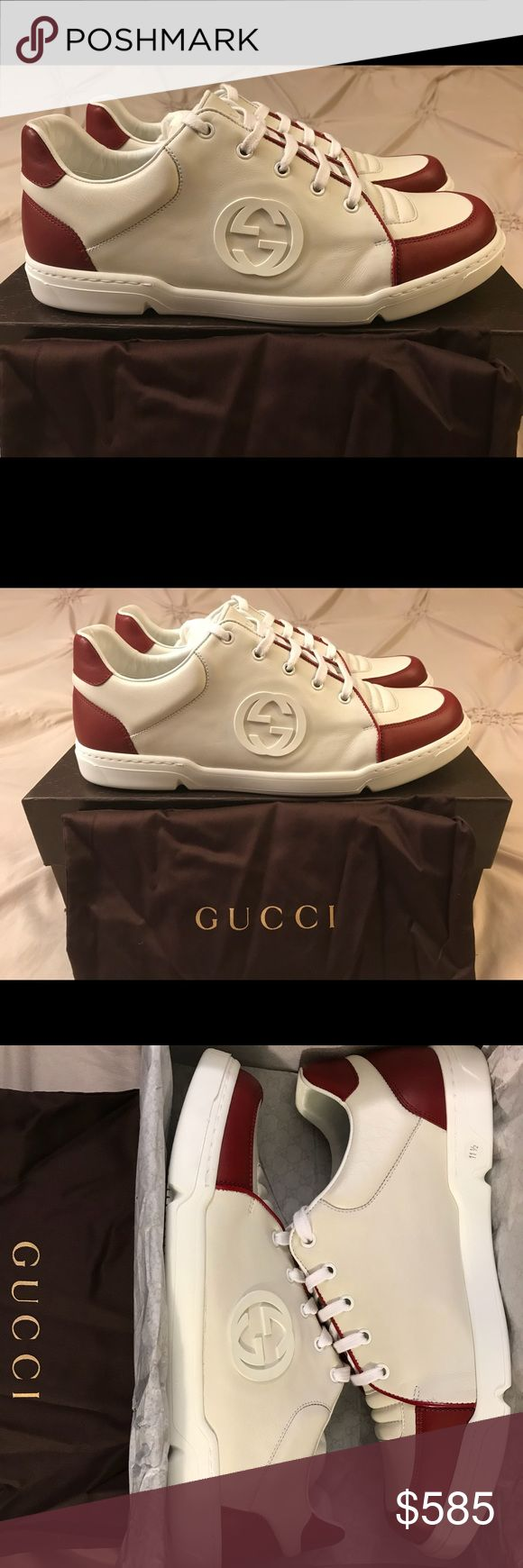 New Gucci GG SoHo Sneakers New with Tags Brand: Gucci Style: Interlocking GG / SoHo Type: Shoes / Sneakers / Runners Colors: White / Red / Cream Retail: $635 Made in Italy 100% AUTHENTIC Sizes available: 12.5 & 13 ( 11.5 & 12 Gucci ) Gucci Shoes Sneakers