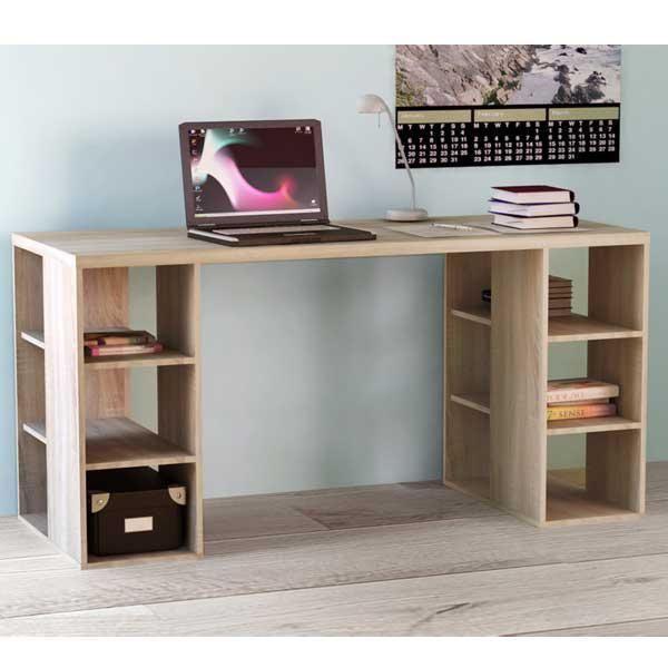 Modern Sleek Bloc Desk Storage Shelves Oak Look Home Office Student Study Table