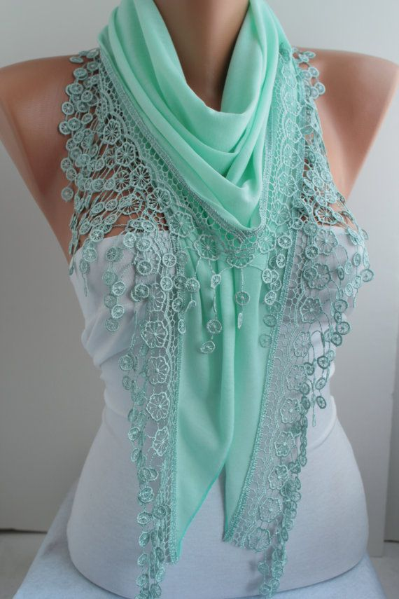 Mint Cotton Lace Triangle Shawl Scarf - Cowl with Lace Edge - Women's Fashion Accessories DIDUCI - This is not a tutorial but it would be so easy to make