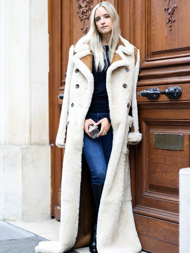 According to three bloggers. rules for mastering french girl style.... love this long shearling coat