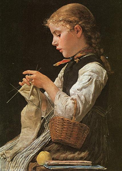 Albert Anker, Strickendes Mädchen, 1884.