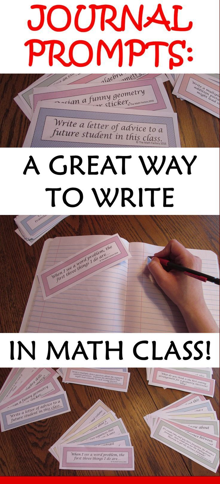 An easy way to add writing to your math classroom!  These prompts are appropriate for almost any class from 6-12th grade.