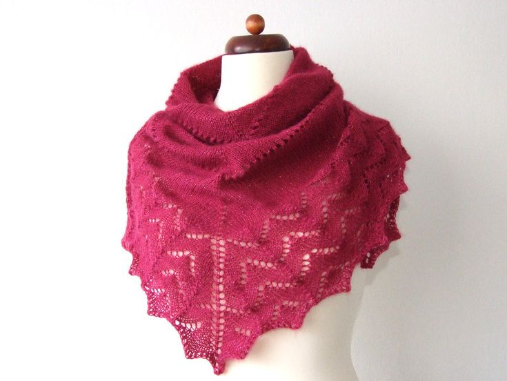 It shimmers! http://etsy.me/2oGwBxQ #accessories #scarf #red  #trianglescarf #handknitlace #laceshawl #lacetriangleshawl #etsy #etsyfinds #handmade #knittedscarf #knitting