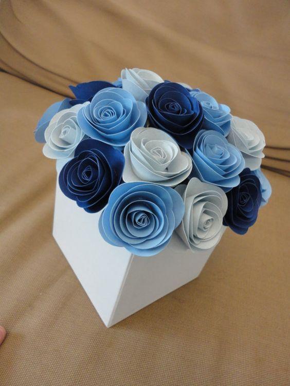 Spiral Rose Centerpiece Paper Flower Centerpiece Shade of Blue Centerpiece Wedding Shower: