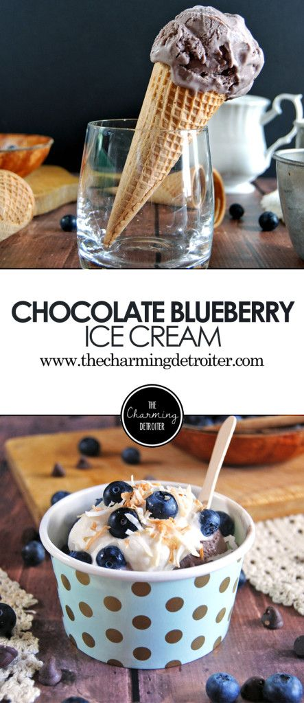 Chocolate Blueberry Ice Cream with Marshmallow Whipped Cream and Toasted Coconut: Blueberries give a rich flavor to this chocolate ice cream, that can be paired with a fluffy marshmallow whipped cream and toasted coconut for extra pizzazz!
