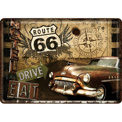 Plaque metal us route 66 voiture gold 10x14 cm frais for Decoration murale usa