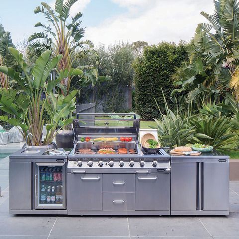 The Gasmate Professional 6 Burner BBQ Kitchen includes Gasmates premium 6 burner BBQ,  a Sink & Bar Fridge, Storage Module, Free Rotiseriee & more. View Now