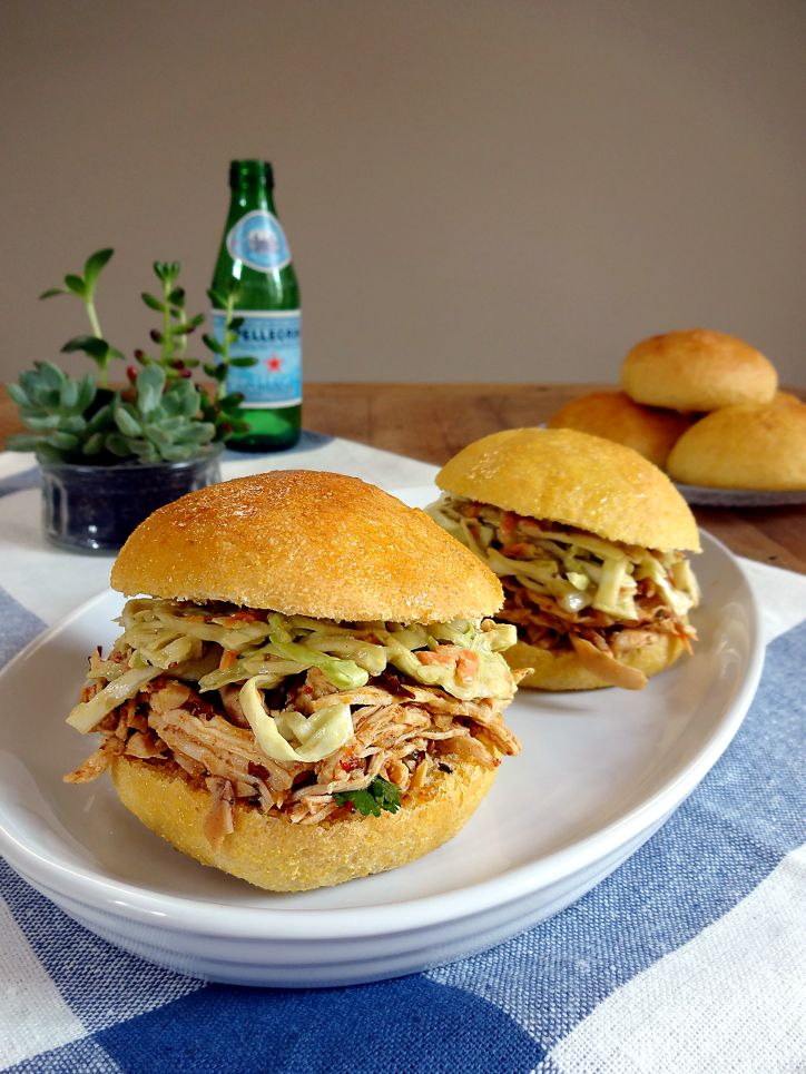 Two of a Kind | Chipotle Shredded Chicken and No-Mayo Coleslaw Sandwiches | http://www.twoofakindcooks.com