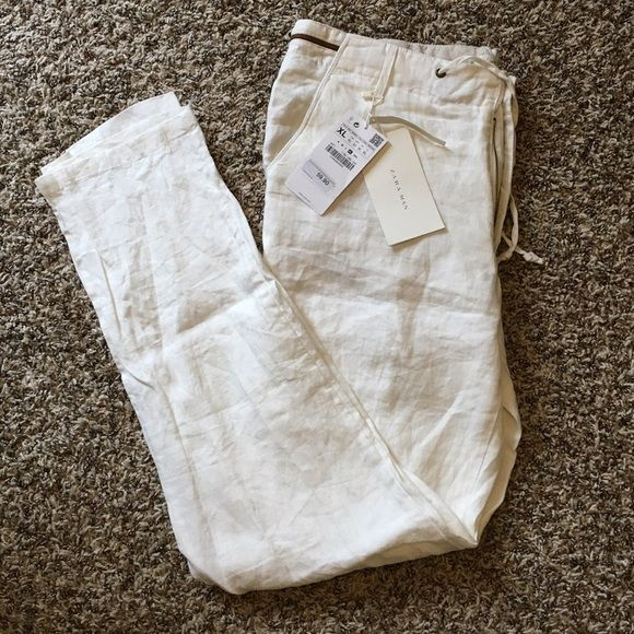 "NWT Zara White Linen Pants Men's Inseam: 32"", Waist: 32"". I bought these thinking they were women's. They fit great! Zara Pants"