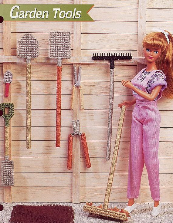 Rare Fashion Barbie Kelly Doll Ken Summer GARDEN TOOLS Rake shovel handmade plastic canvas girl PATTERN Birthday gift