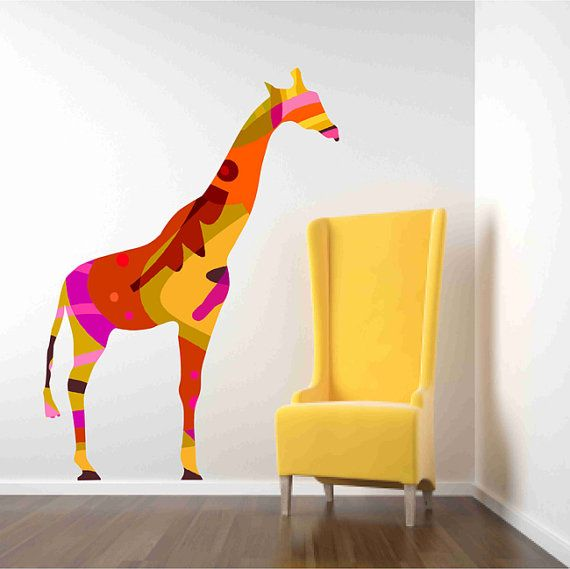 Beautiful Colorful Giraffe Fabric Wall Decal for Nursery by Popitay on Etsy