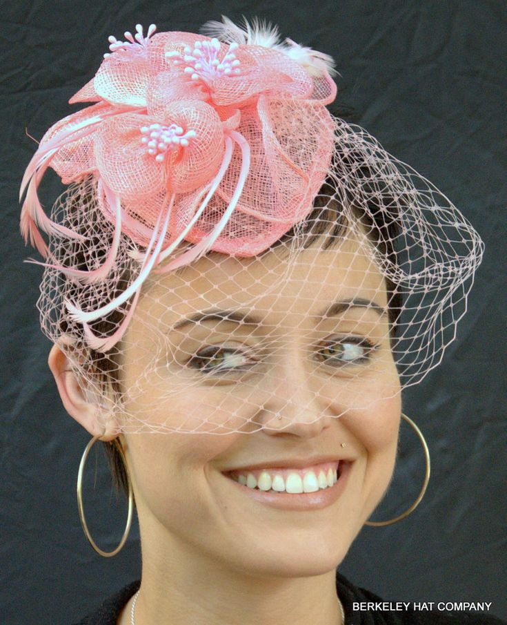 Bow Fishing Wedding Fascinatorswedding Hatspink Fascinatorface Veilbritish