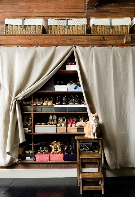 Curtained shoe closet, with a cat watching guard