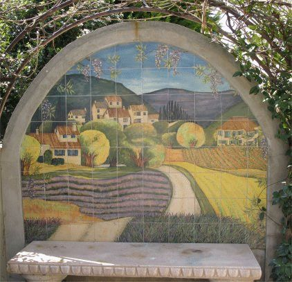Tuscan Scene ; handprinted tile mural ; completed 2005