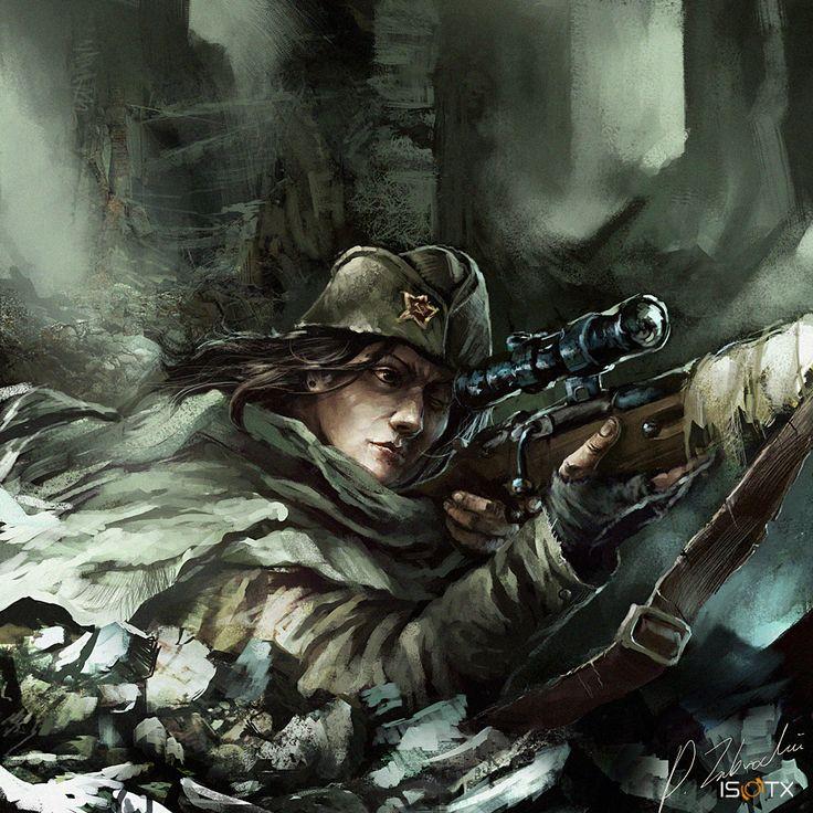Soviet female Sniper by daRoz.deviantart.com on @deviantART