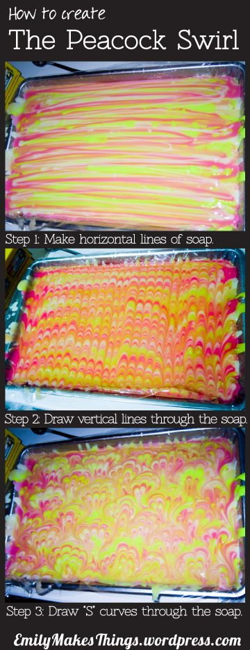 How to create a Peacock Swirl in Soap. Easy, basic instructions.
