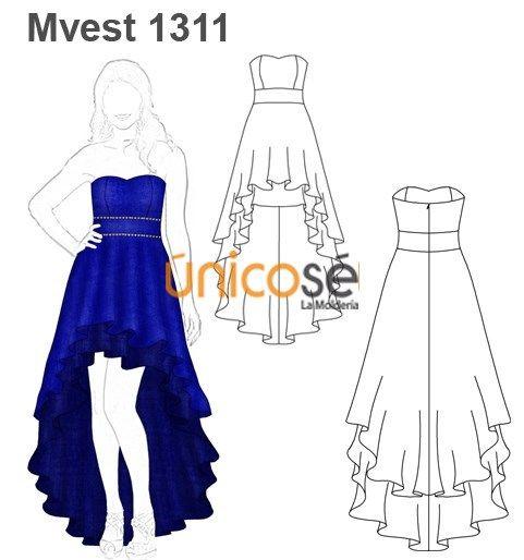 Patrones de vestido de fiesta con cola